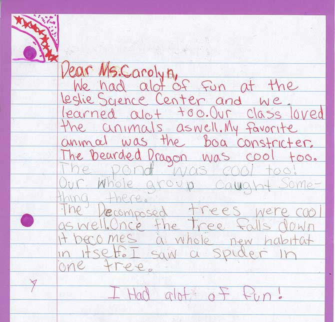 The front of an unsigned handwritten letter to Carolyn.