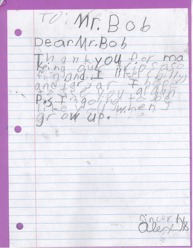 The front of a handwritten letter to Bob from Alex S.