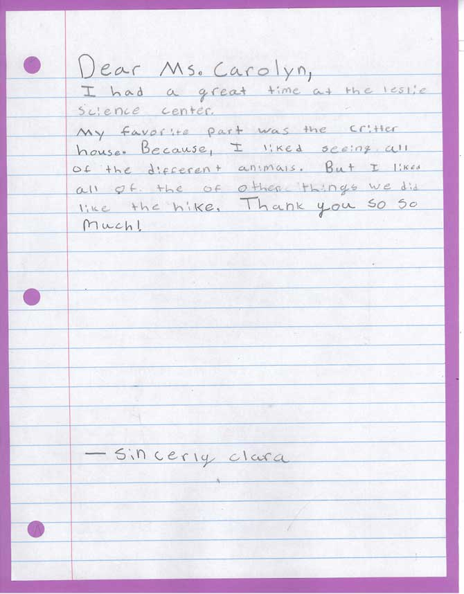 The front of a handwritten letter to Carolyn from Clara.