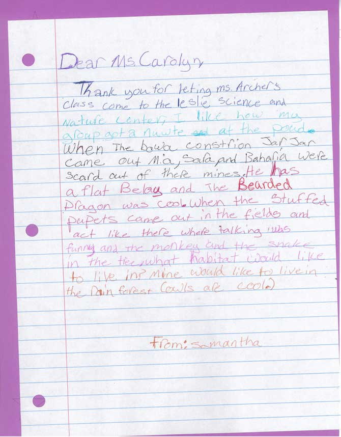 The front of a handwritten letter to Carolyn from Samantha.