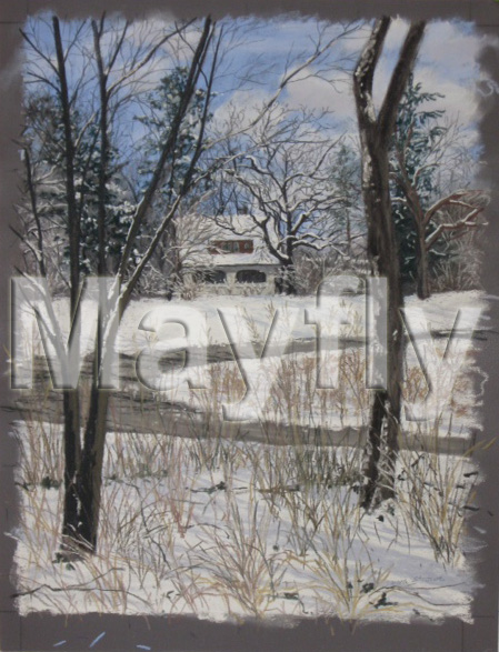 Winter Pastel of Leslie House by Laura Strowe