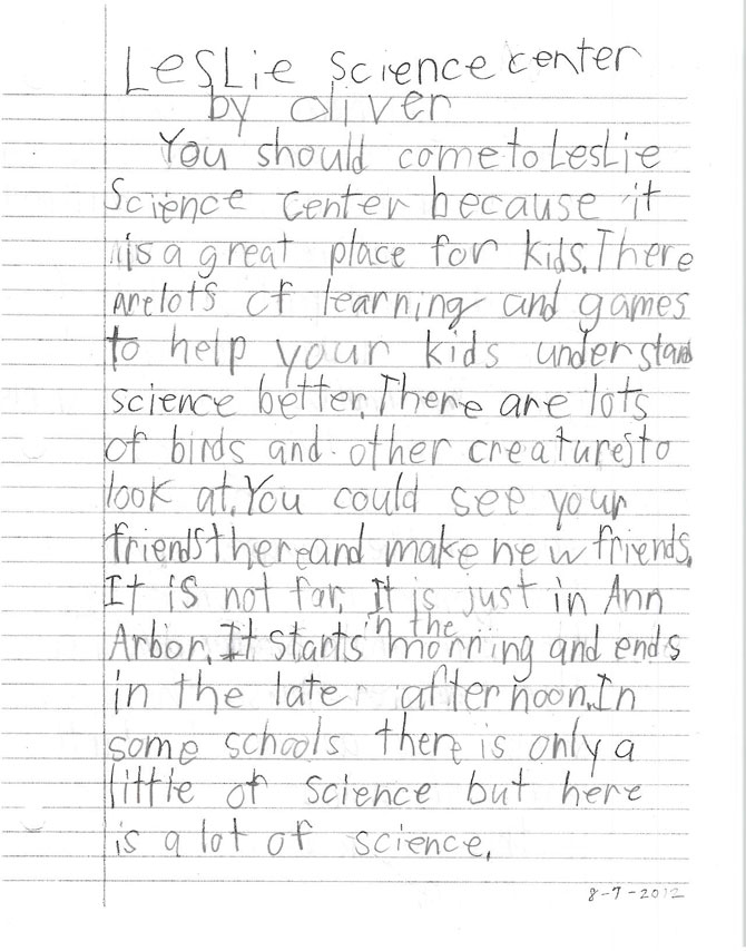 A handwritten letter from Oliver, a camper. Page 1.