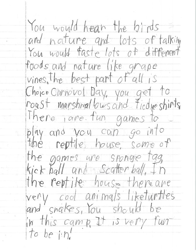 A handwritten letter from Oliver, a camper. Page 2.